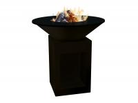 Barbacoa brasero grande en acero color negro con plancha acero, grill de hierro fundido y funda