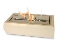 Biochimenea de mesa en acero lacado en blanco con regulador de llama