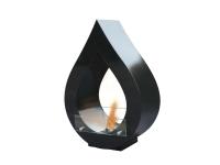 Biochimenea de suelo forma de lágrima en acero esmaltado en negro