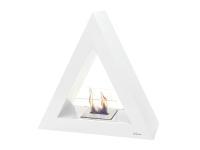 Biochimenea de suelo piramidal en acero lacado en blanco