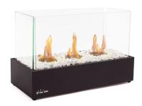 Biochimenea de sobremesa de 3 llamas con vídrio templado