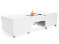 Biochimenea mesa de centro plegable en acero esmaltado en blanco