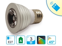 Bombilla LED E27 de 3W luz de colores