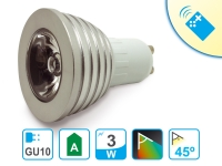 Bombilla LED de colores con mando a distancia GU10 de 3W luz colores