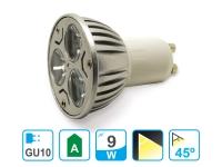 Bombilla LED dicroica GU10 de 9W luz cálida