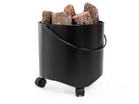 Cubo Portaleña de acero color negro con ruedas