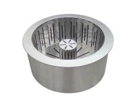 Quemador pellet 1,5 Kg en acero inox doble capa con cesta recoge cenizas