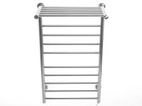 Toallero eléctrico bajo consumo 130 W en acero inox pulido con reposa toallas horizontal