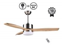 Ventilador de techo DC de 132 cm de madera maciza  mando a distancia y luz  LED